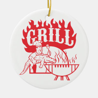 GRILLEN Koch tragen den Retro Alligatorgrill Keramik Ornament