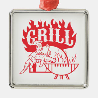 GRILLEN Koch tragen den Retro Alligatorgrill Silbernes Ornament