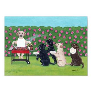 GRILLEN Party-Labradore im Azaleen-Garten 12,7 X 17,8 Cm Einladungskarte