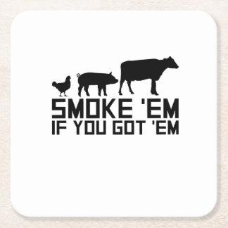 Grillen Sie das Grillen lustigen GIF rauchen sie, Rechteckiger Pappuntersetzer