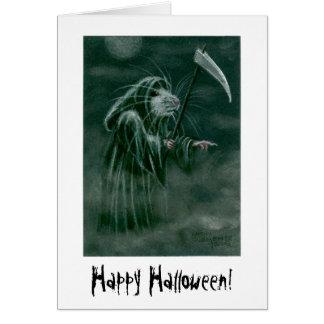 Grimmige Sensenmann-Ratte, glückliches Halloween! Karte