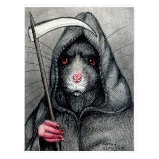Grimmige Sensenmann-Ratten-Postkarte Postkarte