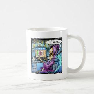 Grimmiger Sensenmann u. Skythe lustige Kaffeetasse