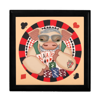 Grinsende Poker-Schwein-Name-Geschenkboxen Erinnerungskiste
