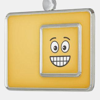 Grinsendes Gesicht mit offenen Augen Rahmen-Ornament Silber
