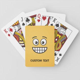 Grinsendes Gesicht mit offenen Augen Spielkarten