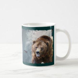 Grizzly-Bär u. Wasserfall Tier-Liebhaber Kunst-Tas Haferl