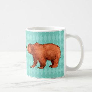 Grizzly betreffen aquamarines Diamantmuster Kaffeetasse