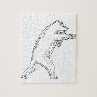 Grizzlybär-boxende Gekritzel-Kunst Puzzle