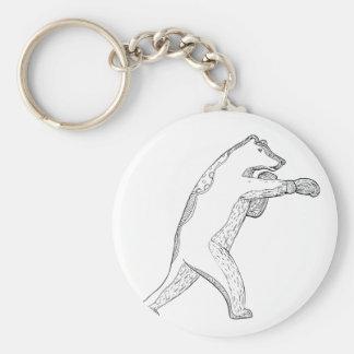 Grizzlybär-boxende Gekritzel-Kunst Schlüsselanhänger