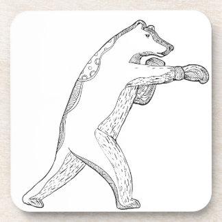 Grizzlybär-boxende Gekritzel-Kunst Untersetzer