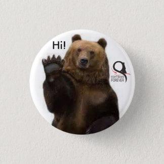Grizzlybär hallo runder button 3,2 cm