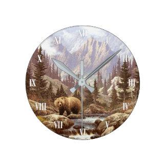 Grizzlybär-LandschaftsWanduhr Runde Wanduhr