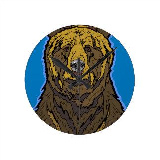 Grizzlybär Runde Wanduhr