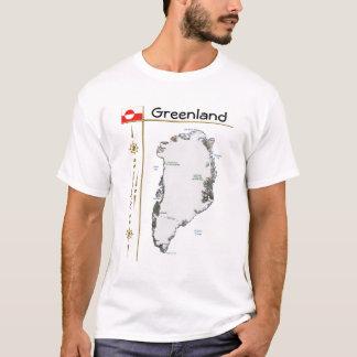 Grönland-Karte + Flagge + Titel-T - Shirt