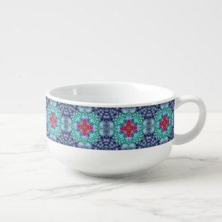 Groovy blaue Kaleidoskop-Suppen-Tassen Große Suppentasse
