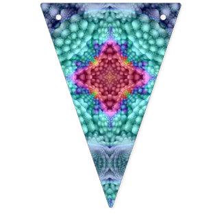 Groovy blaue Vintage Kaleidoskop-Flaggen Wimpelketten