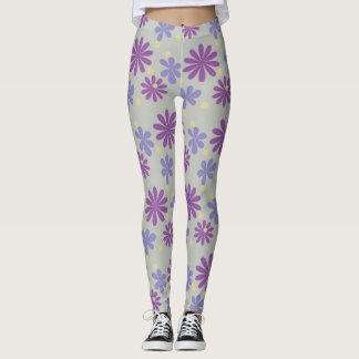 Groovy Blumenflieder des Mod und lila auf Grau Leggings