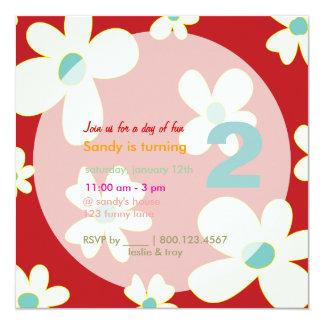 Groovy Daisies/DIY Hintergrund/Geburtstags-Party Quadratische 13,3 Cm Einladungskarte