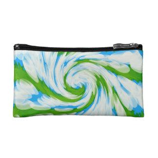 Groovy grün-blauer Krawatten-Strudel Kosmetiktasche