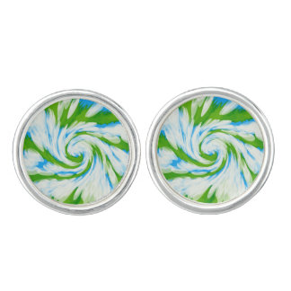 Groovy grün-blauer Krawatten-Strudel Manschetten Knöpfe