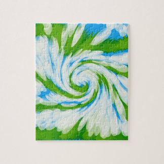Groovy grün-blauer Krawatten-Strudel Puzzle