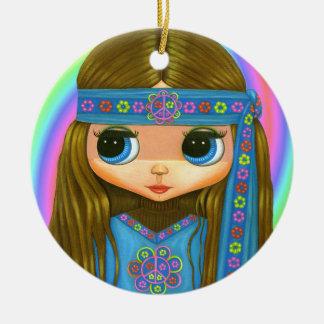Groovy Hippie-Küken im blauen Friedenszeichen Keramik Ornament