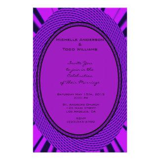 Groovy lila Hochzeit abstrakt Flyer Druck
