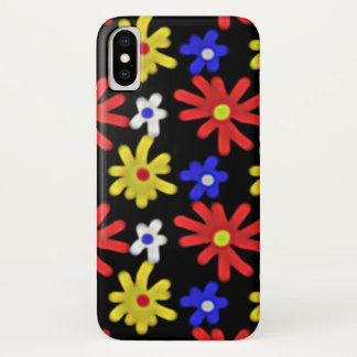 Groovy Retro buntes Blumen-Muster iPhone X Hülle