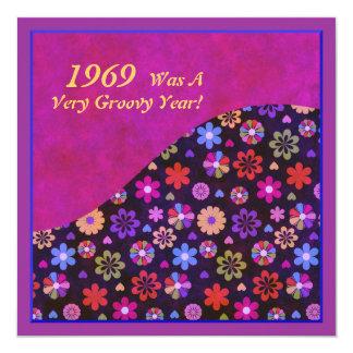 Groovy Retro PopArt Blumen-Power-60er-70er Quadratische 13,3 Cm Einladungskarte