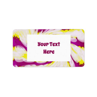 Groovy rosa gelber weißer Krawatten-Strudel Adressaufkleber
