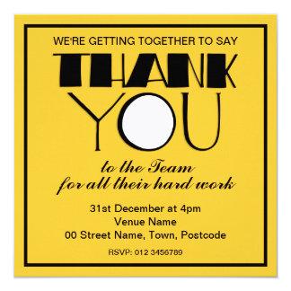 Groß danke schwarze Dank-Team-Einladung Quadratische 13,3 Cm Einladungskarte