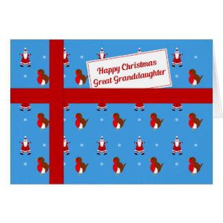 Groß - Enkelin blaues Weihnachtspaket Karte