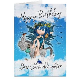 Groß - Enkelin Geburtstags-Karte - mit Himmel-Fee Karte