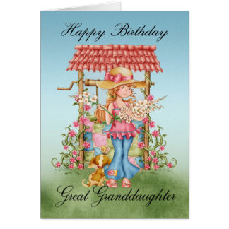 Groß - Enkelin niedliches Mädchen und Wunsch Karte