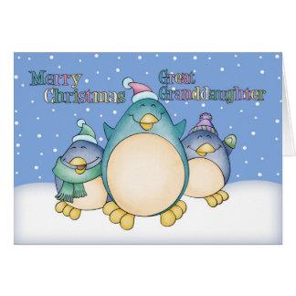 Groß - Enkelin Weihnachtskarte mit Pinguinen Karte