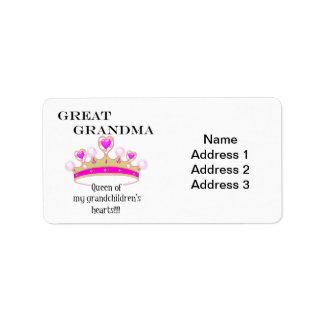 Groß - Großmutter Königin der Herzen Adressaufkleber