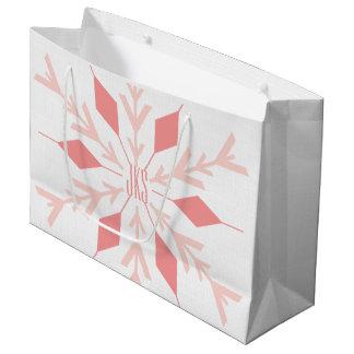 GROSS mit Monogramm-Weihnachtsrosa-Schneeflocke Große Geschenktüte
