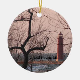 Großartige Hafen-Michigan-Leuchtturm-Verzierung Keramik Ornament