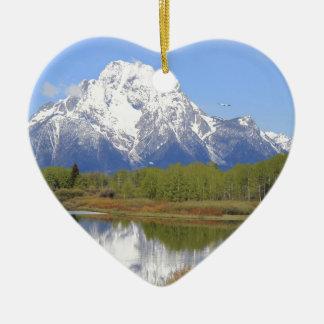 Großartiger Teton Nationalpark Mt. Moran Keramik Herz-Ornament