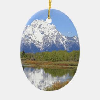Großartiger Teton Nationalpark Mt. Moran Ovales Keramik Ornament