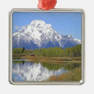 Großartiger Teton Nationalpark Mt. Moran Quadratisches Silberfarbenes Ornament
