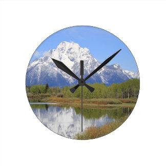 Großartiger Teton Nationalpark Mt. Moran Runde Wanduhr