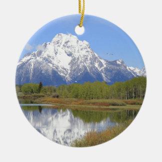 Großartiger Teton Nationalpark Mt. Moran Rundes Keramik Ornament