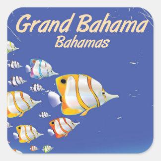 Großartiges Bahama Cartoon-Reiseplakat Quadratischer Aufkleber