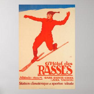 Großartiges Hôtel DES Rasses, Sainte-Croix Vintag Poster
