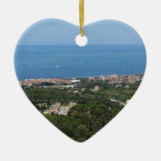 Großartiges Luftpanorama von Livorno-Stadt Keramik Herz-Ornament