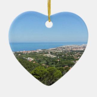 Großartiges Luftpanorama von Livorno-Stadt, Keramik Herz-Ornament