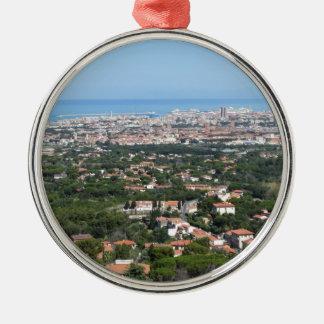 Großartiges Luftpanorama von Livorno-Stadt, Silbernes Ornament