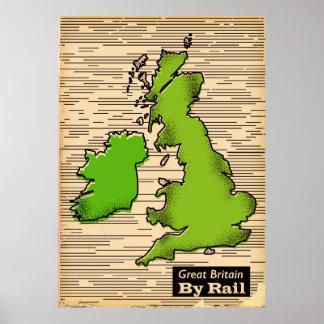 Großbritannien durch Schienenreiseplakat Poster